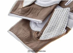 SVB Perforated Leather Cycling Gloves - White/Brown